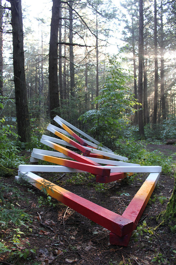 Fast Forward Futures, installation at Harvard Forest, 4x4x26 feet, wood, acrylic paint, and assorted hardware, 2017. Collaborators: David Buckley Borden, Jack Byers, Dr. Aaron Ellison, Salvador Jiménez-Flores, and Salua Rivero.